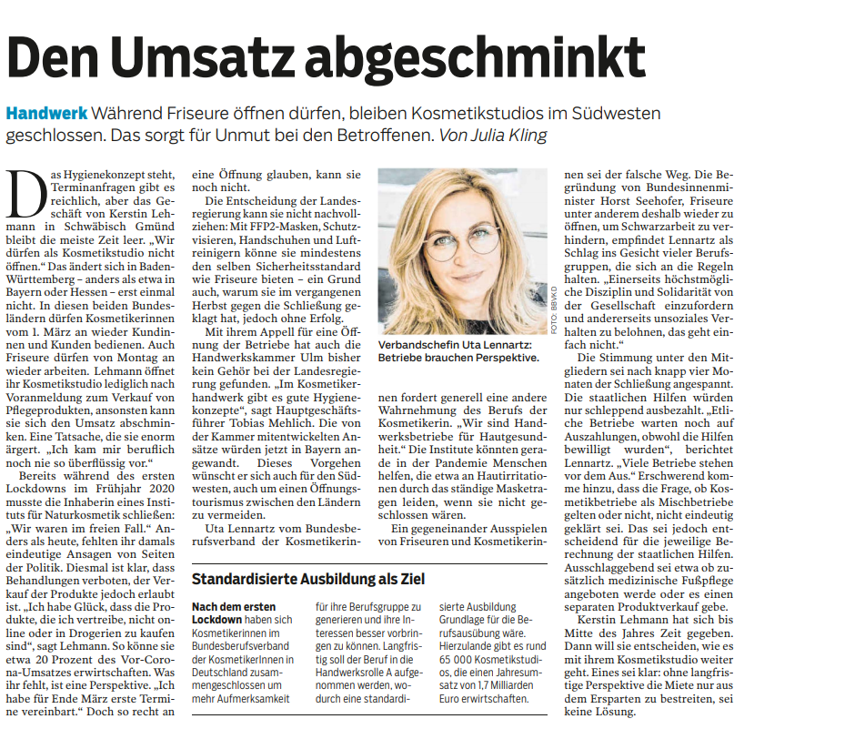 """Featured image for """"BBVKD e.V. in der Südwest Presse am 27.02.2021"""""""